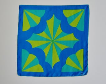 Silk Square Scarf - Designer - Blue - Chartreuse Green - Turquoise - 1960s - Hand Rolled  - Circus Tent Pattern - Recycled - Eco Friendly
