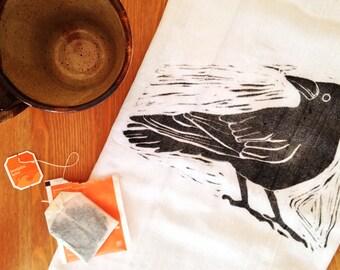 """wood block print """"hello crow"""" tea towel by color.joy"""