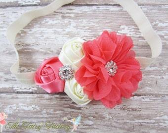 Coral and Ivory Headband, Satin & Chiffon Flowers w/ Crystals Ivory Headband or Hair Clip, Flower Girl, Newborn Baby Child Girls Headband