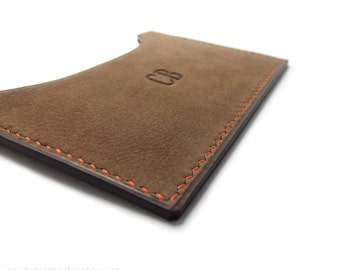 DUST Brown Monogrammed Leather Card Case, Handmade Card Holder, Father's Day, Personalized Business Card Case, Wallet, Card Holder, Sakao