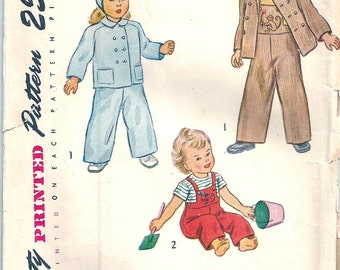 Toddler Vintage 40s Pattern 1940s Overalls Hat Coat Monkey Transfer size 1 20 bust Simplicity 2562 Snow Suit