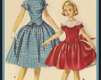 Simplicity 1362 Vintage 50s Girls Low-waisted Dress Pattern