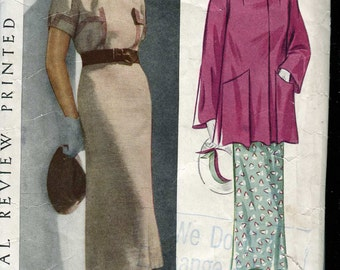 Pictorial Review 8313 Vintage 30s Dress and Jacket Pattern