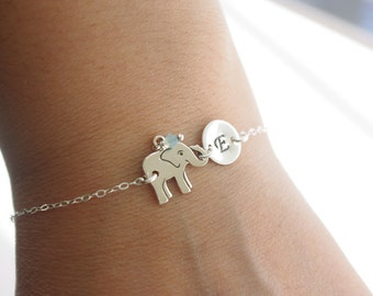 Elephant Bracelet Sterling Silver Elephant Jewelry with Birthstone Personalized Elephant Bracelet with Initial Charm and Birthstone