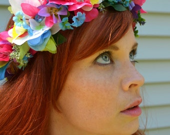 Paradise Flower Crown - Flower Dog Collar - Headpiece