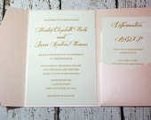 Blush and Gold Shimmer Wedding Invitation SAMPLE