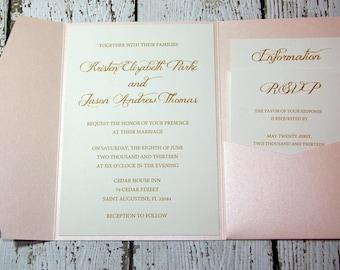 Blush and Gold Shimmer Wedding Invitation DEPOSIT to get started