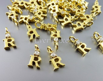 2 tiny uppercase initial R with CZ Cubic Zirconia accent charms, alphabet letter pendants jewelry 918-BG-R (bright gold, R, 2 pieces)