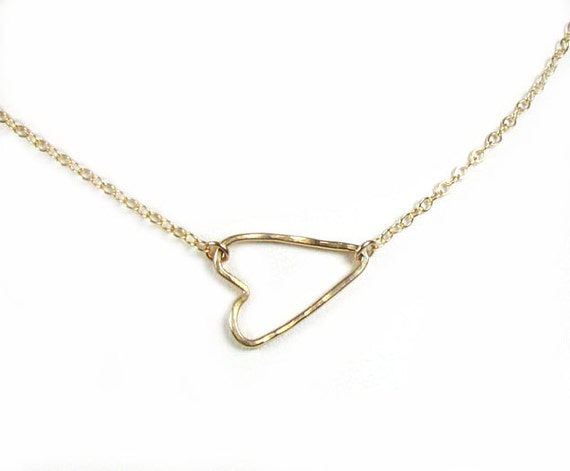 Sideways Heart Necklace, Gold Side Heart Necklace, 14kt gold filled-- As seen on Sara Ramirez of Grey's Anatomy