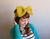 Extra Large Bow Tie Headband in Pea Green Warm Winter Headband Fall Accessories