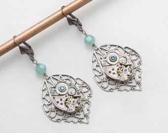 Steampunk Earrings Vintage watch movements gears silver filigree flower dangle drop earrings genuine pearl wedding Gift Steampunk jewelry