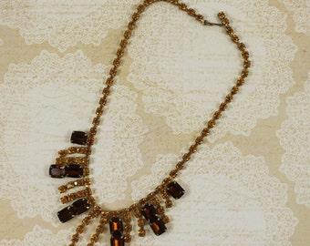 Vintage 1950s Topaz Rhinestone and Gold Strand Necklace
