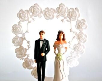 Wedding Cake Topper White Flower Heart Trellis