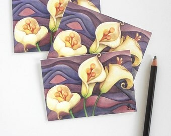 flower card set, calla lily notecards, purple art print cards and envelopes, botanical stationery, set of 5