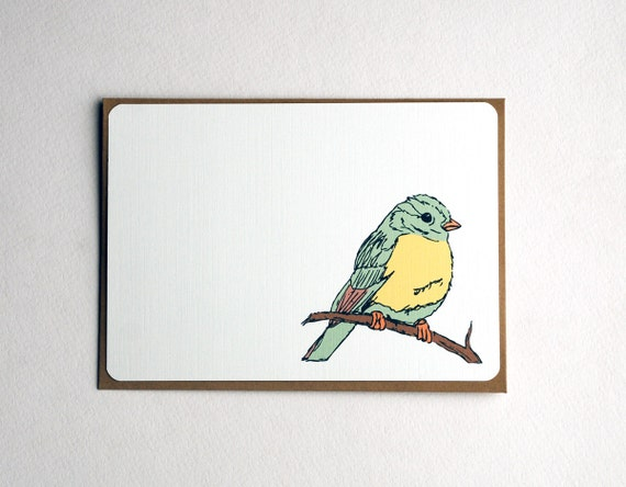 Sparrows on a Branch Notecard Set in Cream, Yellow and Green - Set of 3, 6 or 10 Flat Notecards and Kraft Envelopes