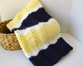 Crochet Baby Blanket, Crochet Baby Afghan in Chevron Navy Blue, Yellow, White, Baby Bow