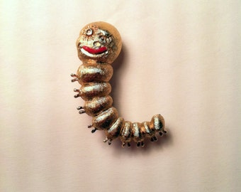 Vintage Napier Happy Face Pin. Gold Plate Caterpillar Pin. Designed by Eugene Bertolli