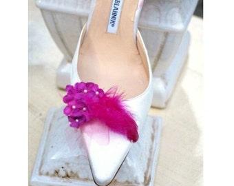 Fuchsia Hydrangeas Shoe Clips. Etsy Handmade Spring Fashion, Bride Bridal Bridesmaid Couture. Wedding Shoe Clips. Chic Floral Bloom Blossom