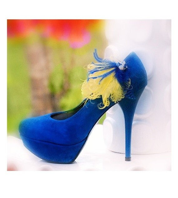 Shoe Clips Yellow Fresia & Cobalt Royal Blue. Couture Bride Bridal Bridesmaid Gift, Happy Statement Bachelorette Party Ostrich Sapphire Opal