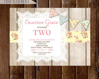 Shabby Style Cottage Roses and Barn Wood Birthday Party Invite - Cottage Style - Rose Birthday Invite - PRINTABLE INVITATION DESIGN
