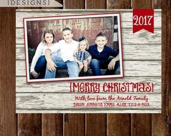 Christmas Card, Photo Christmas Card, Whitewashed Wood Christmas Card, White Wood Christmas Card, Rustic Wooden Christmas Card, Holiday Card