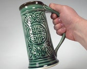 Celtic Beer Stein - Emerald Green Glaze, 22oz, Food Safe, Handcrafted Stoneware Pottery for Kitchen, Dinnerware, Weddings, Groomsman Gifts