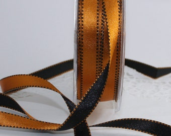 "Black & Orange Reversible Satin Ribbon, 3/8"" wide by the yard, Halloween Ribbon, Gift Wrapping, Crafts, Party Supplies, Sewing, Ribbon Trim"