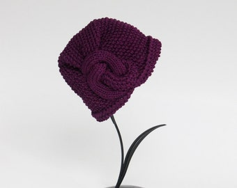 Knitted Cloche Haqndmade Winter Cloche Art Deco Hat Color Plum