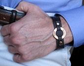 Personalized Men's Washer Bracelet. Custom Leather Mens Wristband. Jewelry for Men / Men Gift / Custom Engraved Bracelet / Mens Anniversary