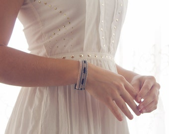 Chloe - Handwoven cuff bracelet with copper