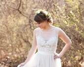 Illusion Neckline Wedding Dress with Tulle Skirt