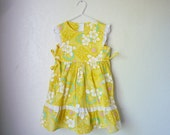 Vintage Yellow Hawaiian Dress, Children's Size 4