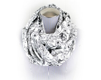Owl Black on White Flannel Infinity Scarf, Woodland Leaves and Owl Silhouette on White Flannel