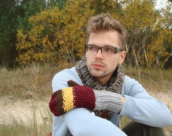 Winter mittens, men gloves, knitted, accessory, gift for him