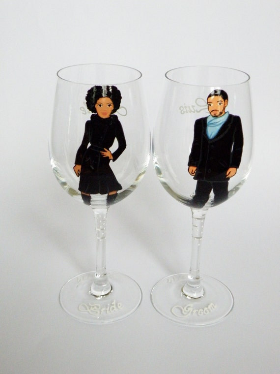 SALE Hand painted Bridal shower party Personalized Wine glasses Portraits Groom and Bride African Americans