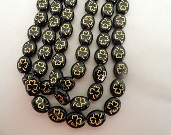 Czech Glass Flowers Clovers Shamrocks Opaque Jet Black Gold Etching Plants Beads 9/10mm Earrings Bracelets Necklaces Crafts St Patricks 12