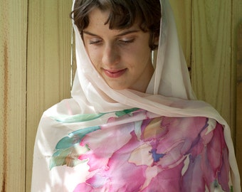 Hand Painted Silk Shawl Veil Silk Wrap Peonies with Batterflies and Bees Custom Made