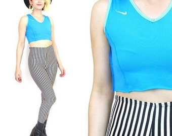 90s Nike Sports Bra Crop Top Turquoise Sporty Rave Athletic Gym Midriff Tank Top (XS/S)