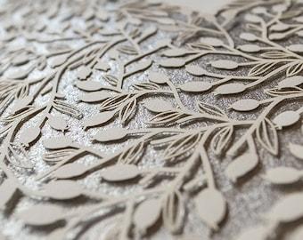 Ketubah Papercut by Jennifer Raichman - Lace Leaves - Metallic Silver