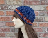 Chunky Beanie Blue and Orange Team Spirit Hat Football Girlfriend Hat Knit Hat Crochet Hat Denver Beanies for Women and Teens