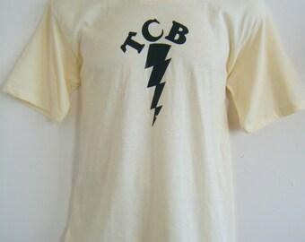 vintage 1970s ELVIS PRESLEY TCB Takin Care of Business lightning bolt t-shirt, size l