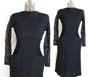 1950s Dress / Black 50s Dress / 50s Black Lace Dress