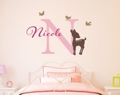 Initial & Name Decal with Fawn and Birds - Deer Wall Decal - Girls Name Decal - Large