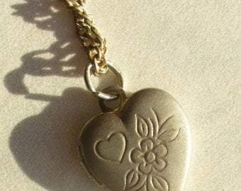 tiny vintage heart locket - engraved gold tone with chain - vintage costume jewelry