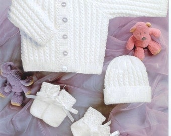 SALE***** Baby knitting pattern Newborn Cardigan hat mittens and booties set 4 ply 12-22ins