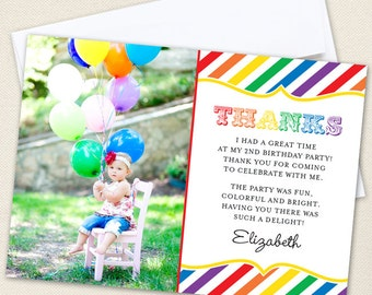 Rainbow Photo Thank You Cards - Professionally printed *or* DIY printable