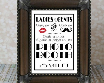 SMILE! Photo Booth 1920's Gatsby Party Sign 8 X 10 in. Wedding DIY Instant Download Printable, Photo Prop Sign, Red Lips, Mustache
