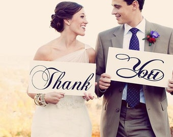 Thank You Signs for your Thank You Cards. (2) 8 X 16 in. 1-Sided Signs. Featured in Bridal Guide May/June 2014 issue. Wedding Signs.