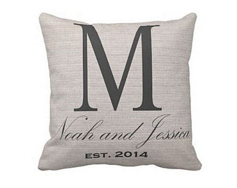 Cotton Anniversary Gift Pillow Cover Large Initial Wedding Gift Pillow Cover