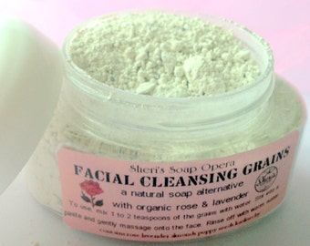 Lavender Rose Facial Cleansing Grains-A Gentle Soap Alternative-Choose Your Size